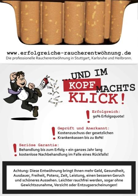 Rauchen aufhören in Stuttgart mit Kostenzuschuß Ihrer Krankenkasse!