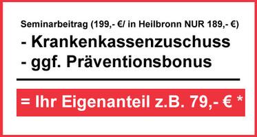Zuschuss der Krankenkassen zum Seminarbeitrag und ggf. Präventionsbonus